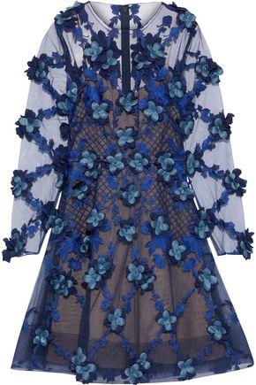 MARCHESA NOTTE Floral-appliquéd embroidered tulle mini dress