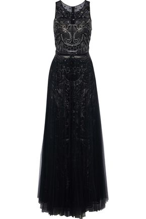 MARCHESA NOTTE Pleated metallic embellished tulle gown