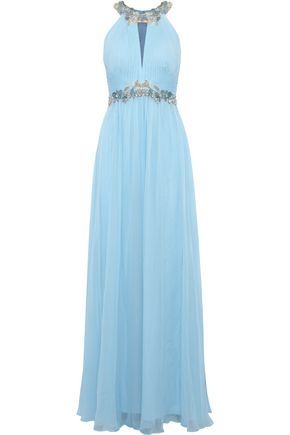MARCHESA NOTTE Embellished cutout pleated silk-chiffon gown
