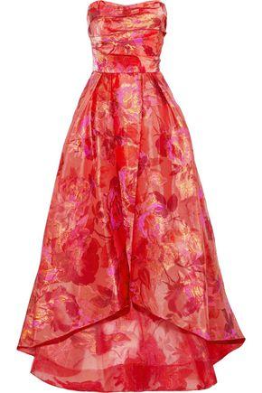 MARCHESA NOTTE Strapless fil coupé organza gown