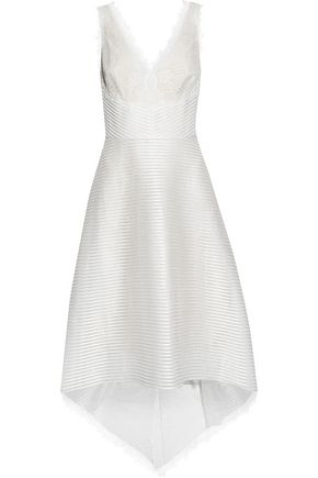 MARCHESA NOTTE Chantilly lace-paneled ribbed tulle dress