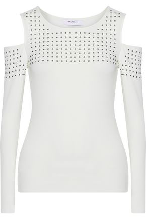 BAILEY 44 Still The One cold-shoulder studded stretch-jersey top