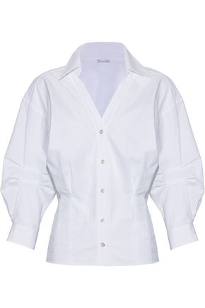 OSCAR DE LA RENTA Gathered cotton-poplin shirt