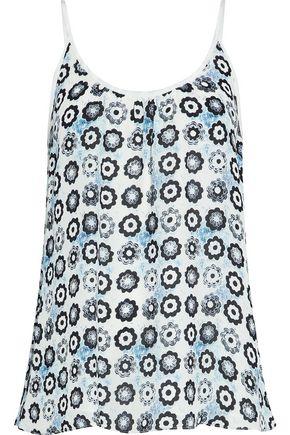 OSCAR DE LA RENTA Floral-print silk crepe de chine camisole