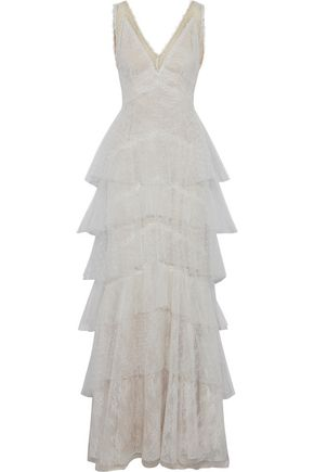 MARCHESA NOTTE Tiered point d'esprit and Chantilly lace gown