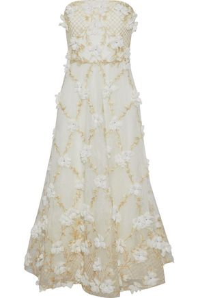 MARCHESA NOTTE Strapless floral-appliquéd embroidered lace gown