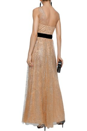 MARCHESA NOTTE One-shoulder velvet-trimmed glittered tulle gown
