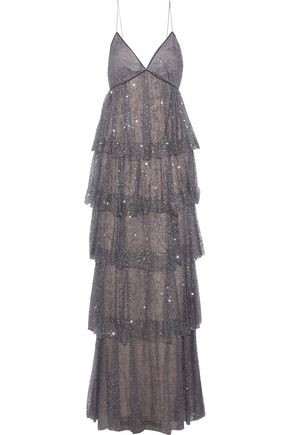 MARCHESA NOTTE Tiered glittered tulle gown