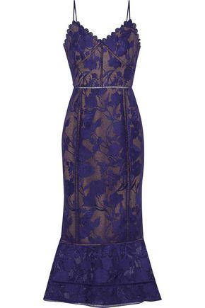 MARCHESA NOTTE Scalloped lace midi dress