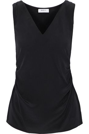 Ruched Silk Crepe De Chine And Stretch Jersey Top by Bailey 44