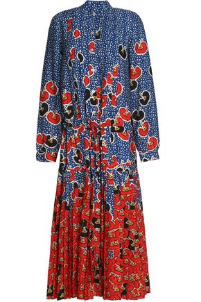 STELLA JEAN Pleated printed crepe midi dress