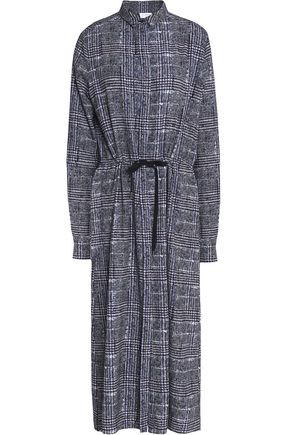 STELLA JEAN Gathered checked tweed midi shirt dress