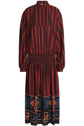 STELLA JEAN Smocked striped crepe de chine midi dress