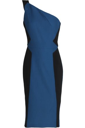 ROLAND MOURET One-shoulder cotton-piqué and crepe dress
