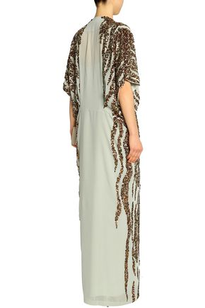 BY MALENE BIRGER Sequined crepe de chine gown