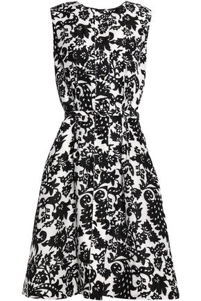 OSCAR DE LA RENTA Pleated silk and wool-blend jacquard dress