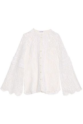 OSCAR DE LA RENTA Cotton-blend guipure lace top