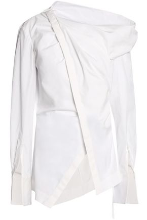 OSCAR DE LA RENTA Asymmetric wrap-effect cotton-blend poplin shirt