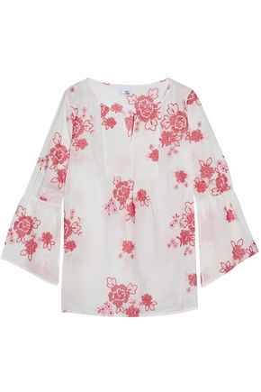 IRIS & INK Gabriel gathered embroidered cotton-gauze blouse
