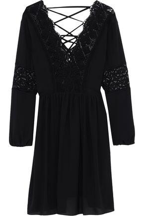 SANDRO Lace-up guipure lace-paneled chiffon mini dress