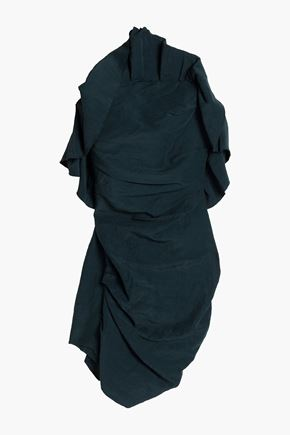CARMEN MARCH Strapless ruffled crepe mini dress