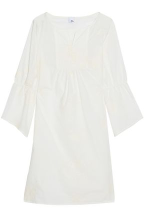IRIS & INK Wallace gathered embroidered cotton-gauze coverup