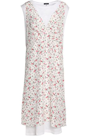 R13 Layered cotton and cashmere-blend jersey and floral-print silk midi dress