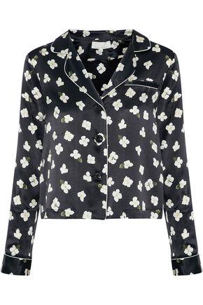 FLEUR DU MAL Floral-print silk-satin pajama top