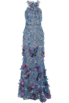 MARCHESA NOTTE Floral-appliquéd metallic embroidered tulle gown