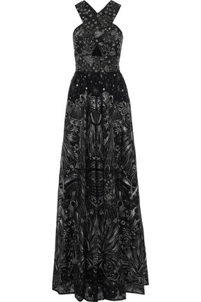 MARCHESA NOTTE Cutout metallic embellished tulle gown