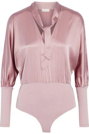 FLEUR DU MAL Pussy-bow silk-blend satin and ponte bodysuit