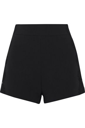 WOMAN LACE-TRIMMED CADY SHORTS BLACK