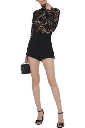 PIERRE BALMAIN Lace-trimmed cady shorts