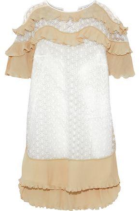 SANDRO Plissé chiffon-paneled guipure lace mini dress