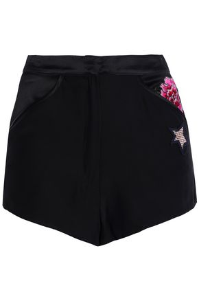 FLEUR DU MAL Appliquéd silk-satin pajama shorts