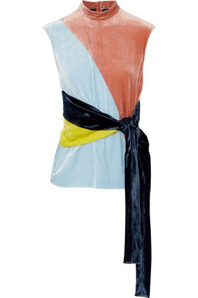 CEDRIC CHARLIER Tie-front color-block crushed-velvet top