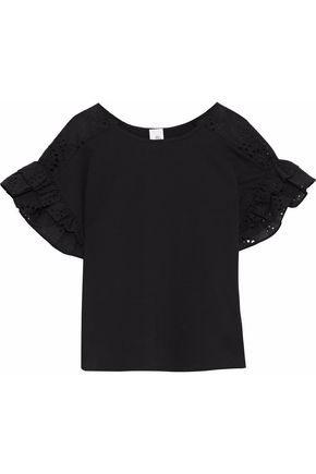 IRIS & INK Janelle ruffled broderie anglaise-paneled stretch-cotton top
