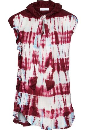 SANDRO Pussy-bow tie-dyed washed-silk top