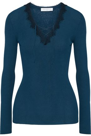 SANDRO Paris Lace-trimmed lace-up ribbed-knit top