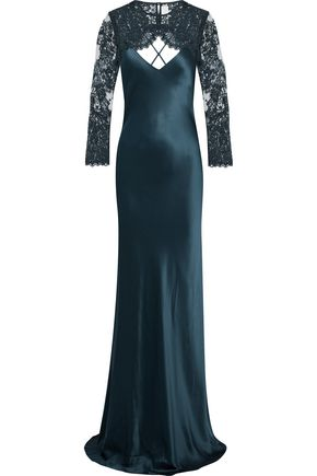 MICHELLE MASON Detachable lace-paneled silk-satin gown