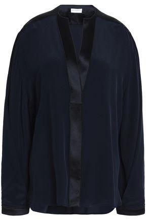 AMANDA WAKELEY Satin-trimmed silk crepe de chine blouse