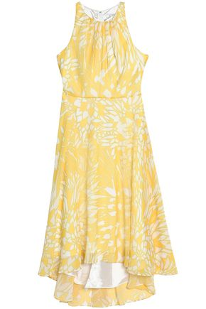 BADGLEY MISCHKA Asymmetric printed georgette midi dress