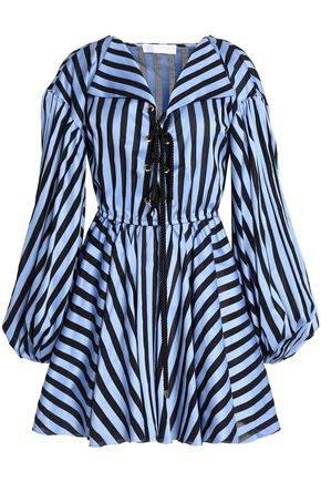 CAROLINE CONSTAS Lace-up striped cotton-jacquard mini dress