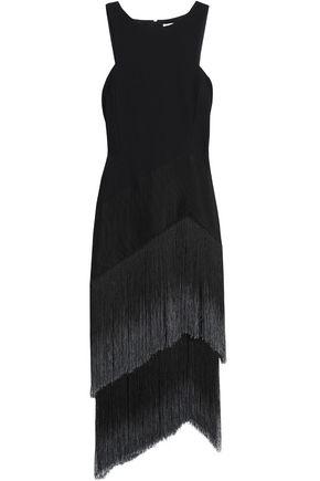 AMANDA WAKELEY Asymmetric fringed knitted dress