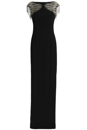AMANDA WAKELEY Fringed embellished crepe gown