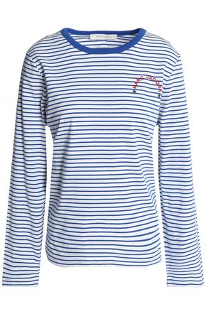 MARC JACOBS Embroidered striped cotton-jersey top