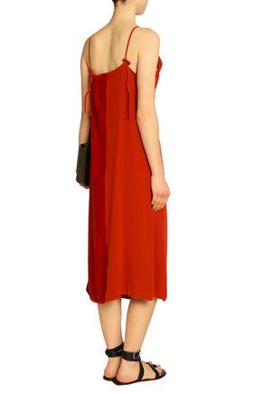 BY MALENE BIRGER Velvet and crepe midi slip dress