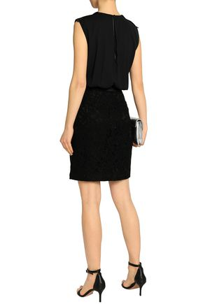 BY MALENE BIRGER Satin-trimmed paneled lace and crepe mini dress