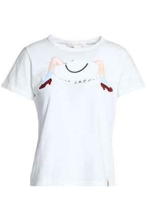 MARC JACOBS Glittered printed cotton-jersey T-shirt