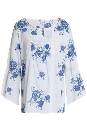 IRIS & INK Gabriel embroidered cotton-gauze blouse